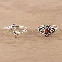 Garnet and sterling silver rings, 'Scarlet Glory' (pair) - Garnet and Sterling Silver Rings from India (Pair)