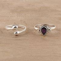 Amethyst and sterling silver rings, 'Gemstone Radiance' (pair) - Amethyst and Sterling Silver Rings Crafted in India (Pair)