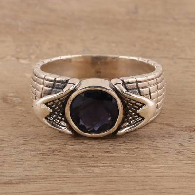 Men's iolite ring, 'Snake Charm' - Men's Iolite Ring Crafted in India