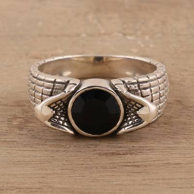 Men's onyx ring, 'Snake Charm' - Men's Onyx Ring Crafted in India