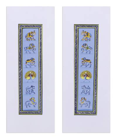 Animal-Themed Folk Art Diptych in Blue from India