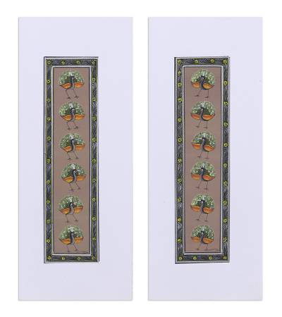 Peacock-Themed Folk Art Diptych from India