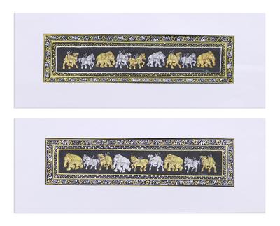 Metallic Animal-Themed Folk Art Diptych from India