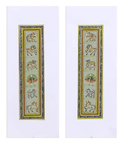 Animal-Themed Folk Art Diptych in Green from India