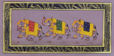 Elephant-Themed Folk Art Painting from India