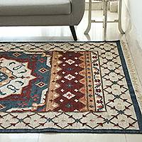 Wool area rug, 'Starry Regal' (5x8) - Handwoven Star Pattern Wool Area Rug from India (5x8)