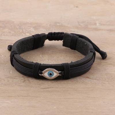 Sterling silver and leather wristband bracelet, 'Alluring Eye' - Eye Motif Sterling Silver and Leather Wristband Bracelet