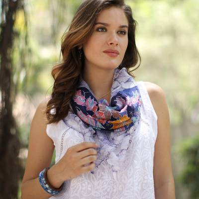 Batik cotton scarf, 'Wavy Floral in Snow White' - Floral Batik Cotton Scarf in Snow White from India
