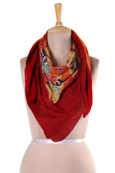 Batik cotton scarf, 'Wavy Floral in Crimson' - Floral Batik Cotton Scarf in Crimson from India