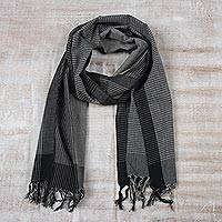 Cotton scarf, 'Timeless Classic' - Black and White Cotton Wrap Scarf from India