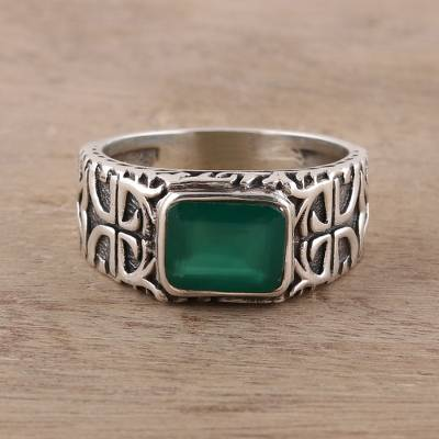 Men's onyx ring, 'Verdant Statement' - Men's Green Onyx Ring Crafted in India