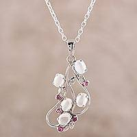 Rhodium plated moonstone and ruby pendant necklace, 'Elegant Radiance' - Rhodium Plated Moonstone and Ruby Pendant Necklace