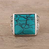 Men's sterling silver and reconstituted turquoise ring, 'Dark Leaves' - Men's Sterling Silver and Square Recon. Turquoise Ring