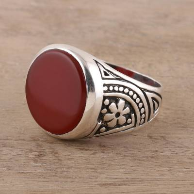 Men's carnelian signet ring, 'Native Flower' - 925 Sterling Silver and Carnelian Men's Ring from India