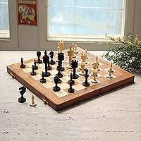 Bone and wood travel chess set, 'Castles Clash' - Hand-Carved Bone and Wood Travel Chess Set from India