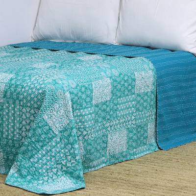 Cotton bedspread, 'Kantha Green' (queen) - 100% Cotton Kantha and Patchwork Bedspread in Green