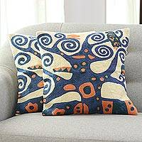 Embroidered cotton cushion covers, 'Swirling Tree' (pair) - Blue Tree Embroidered Cotton Cushion Covers (Pair)
