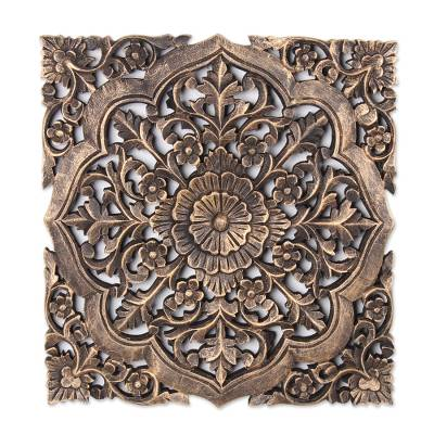 Mango wood relief panel, 'Floral Glory' - Distressed Floral Mango Wood Relief Panel from India