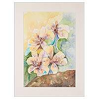 'Lily Enthrall I' - Signed Watercolor Painting of Yellow Lilies from India