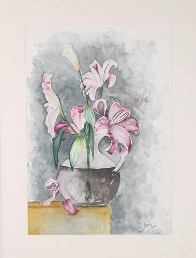 'Lily Enthrall II' - Signed Still Life Lily Painting from India