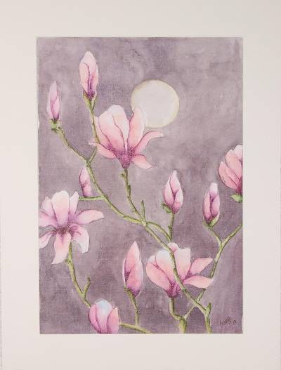'Magnolia in Moonlight' - Signed Pink Magnolia Painting from India