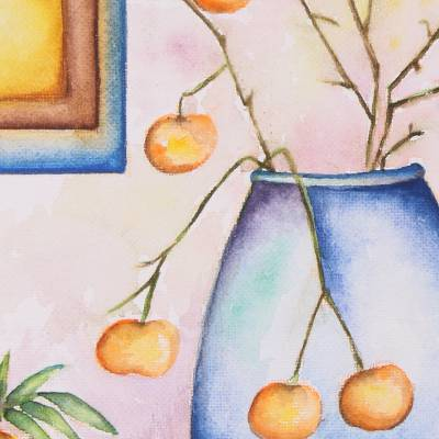'Garden Glory' - Fruit-Themed Watercolor Still Life Painting from India