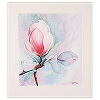 'Magnificent Magnolia' - Signed Watercolor Painting of a Magnolia Flower from India