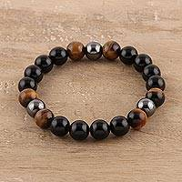 Multi-gemstone beaded stretch bracelet, 'Nature's Wonder' - Onyx Tiger's Eye and Hematite Beaded Stretch Bracelet