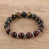 Tiger's eye beaded stretch bracelet, 'Earth's Energy' - Red and Black Tiger's Eye Beaded Stretch Bracelet from India