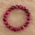 Tiger's eye beaded stretch bracelet, 'Peaceful Sunrise' - Handmade Pink Tiger's Eye Beaded Stretch Bracelet from India (image 2b) thumbail