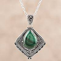 Malachite pendant necklace, 'Green Kite' - Natural Malachite and Sterling Silver Pendant Necklace
