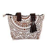 Leather accented cotton tote, 'Mughal Mandala in Sepia' - Mandala Motif Leather Accented Cotton Tote in Sepia
