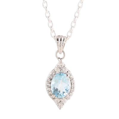 Rhodium plated blue topaz pendant necklace, 'Glistening Sky' - 3-Carat Rhodium Plated Blue Topaz Pendant Necklace