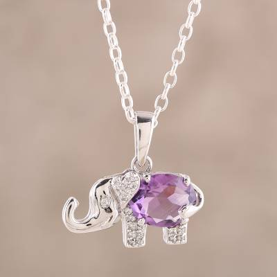 Amethyst pendant necklace, 'Purple Elephant' - Elephant-Themed Faceted Amethyst Pendant Necklace from India