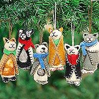 Wool ornaments, 'Cozy Kittens' (set of 6) - Embroidered Wool Cat Ornaments from India (Set of 6)