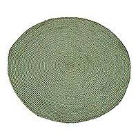 Jute area rug, 'Circular Beauty in Celadon' (3 feet diameter) - Round Handwoven Jute Area Rug in Celadon (3 Feet Diameter)