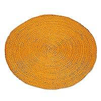 Jute area rug, 'Circular Beauty in Maize' (3 feet diameter) - Round Handwoven Jute Area Rug in Maize (3 Feet Diameter)