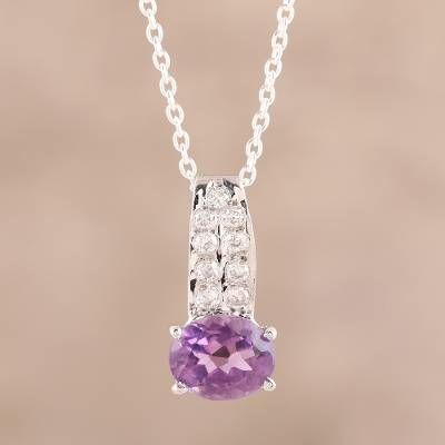 Amethyst pendant necklace, 'Timeless Sparkle' - 3-Carat Amethyst Pendant Necklace from India