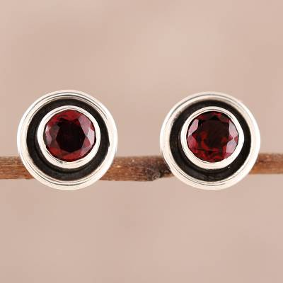 Garnet stud earrings, 'Framed Sparkle' - Circular Faceted Garnet Stud Earrings from India