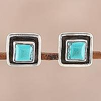Calcite stud earrings, 'Sky Frame' - Square Calcite Stud Earrings Crafted in India
