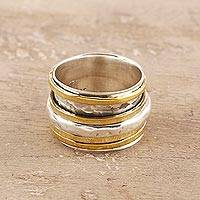 Sterling silver and brass spinner ring, 'Happy Spin' - Sterling Silver and Brass Spinner Ring from India