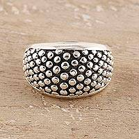 Sterling silver band ring, 'Dark Pave' - Patterned Sterling Silver Band Ring from India