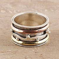 Sterling silver spinner ring, 'Delightful Union' - Sterling Silver Spinner Ring from India