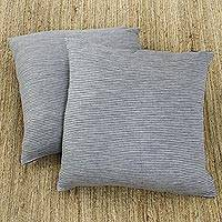 Knit cushion covers, 'Grey Stripes' (pair) - Striped Knit Cushion Covers in Grey from India (Pair)