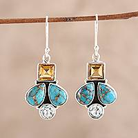 Citrine and blue topaz dangle earrings, 'Gemstone Charm' - Citrine and Blue Topaz Dangle Earrings from India