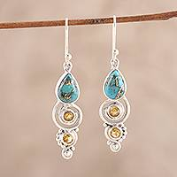 Citrine dangle earrings, 'Glistening Curl' - Citrine and Composite Turquoise Dangle Earrings from India