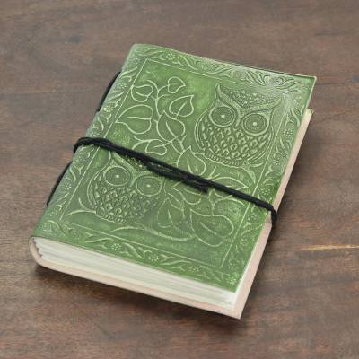 Leather journal, 'Owl Friends' - Owl-Themed Leather Journal in Avocado from India