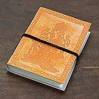 Leather journal, 'Majestic Ganesha' - Ganesha-Themed Leather Journal in Tangerine from India