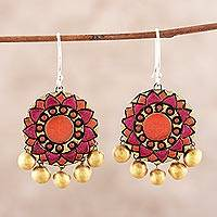 Ceramic dangle earrings, 'Mandala Flowers' - Floral Ceramic Dangle Earrings from India