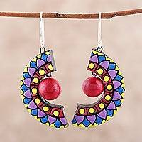 Ceramic dangle earrings, 'Crescent Harmony' - Hand-Painted Ceramic Dangle Earrings from India